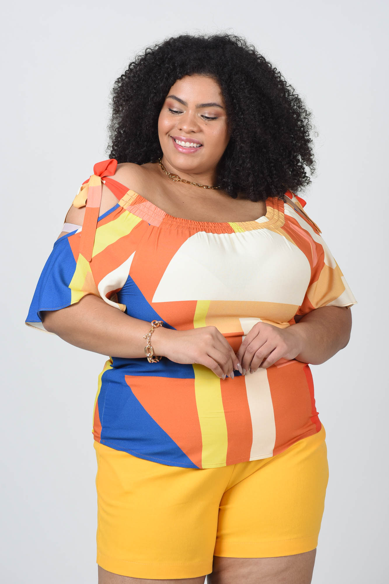 CIGANINHA PLUS SIZE ESTAMPADA DE VISCOSE L