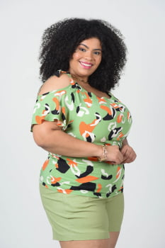 CIGANINHA PLUS SIZE ESTAMPADA DE VISCOSE V1