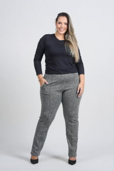CALÇA JACQUARD TWEED PLUS SIZE